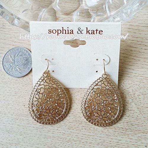Original single in Europe and America Fan flower pattern delicate openwork gold teardrop-shaped earrings