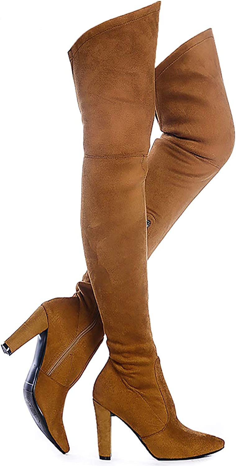Shoe'N Tale Women Stretch Suede Chunky Heel Thigh High Over The Knee Boots