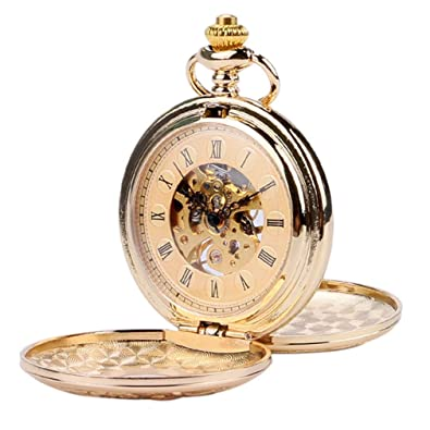 Amazon.com: Luxury Gold/Silver Antique Steampunk Skeleton Mechanical Fob Pocket Watch Double Open Side Roman Numbers Reloj De Bolsillo Gifts 1: Jewelry