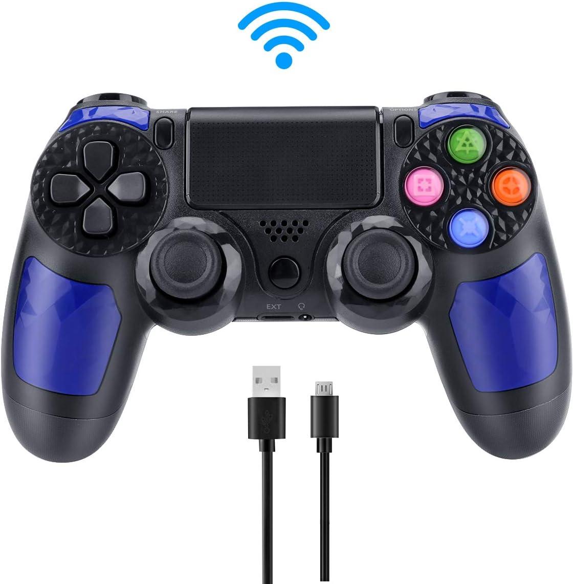 E-More Compatible con Mando PS4, inalámbrico Controlador de Juegos Dual Vibration Gamepad para Playstation 4 y Playstation 3 y PC con Touch Pad y Conector de Audio