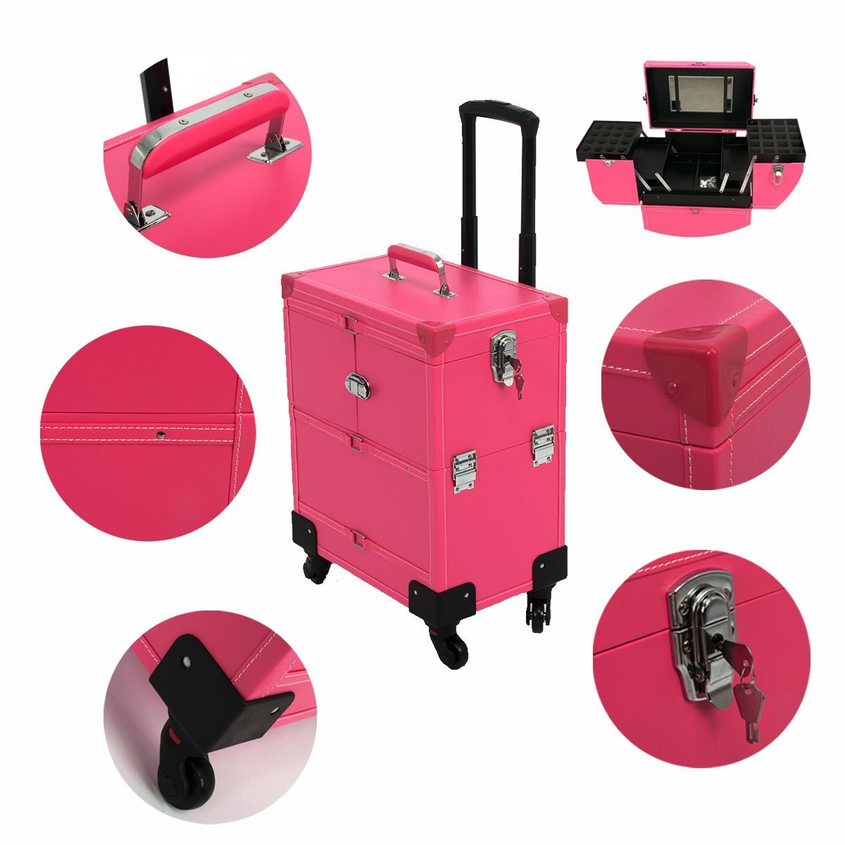 """Rolling Makeup Case Leather Professional Nail Artist Beauty Makeup Train Case Trolley Cosmetic Organizer Box Lift Handle with Mirror & 360-degreed 4-wheel, 14"""" x 9"""" x 20"""""""