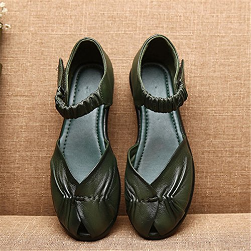gracosy Women Leather Flat Mary Jane Ballet Shoes, Ladies Low Heel Slip On Loafer Casual Comfort Retro Closed Toe Soft Sole Walking Shoes Elastic Hook Loop Anti-Slip Sandals Size Green