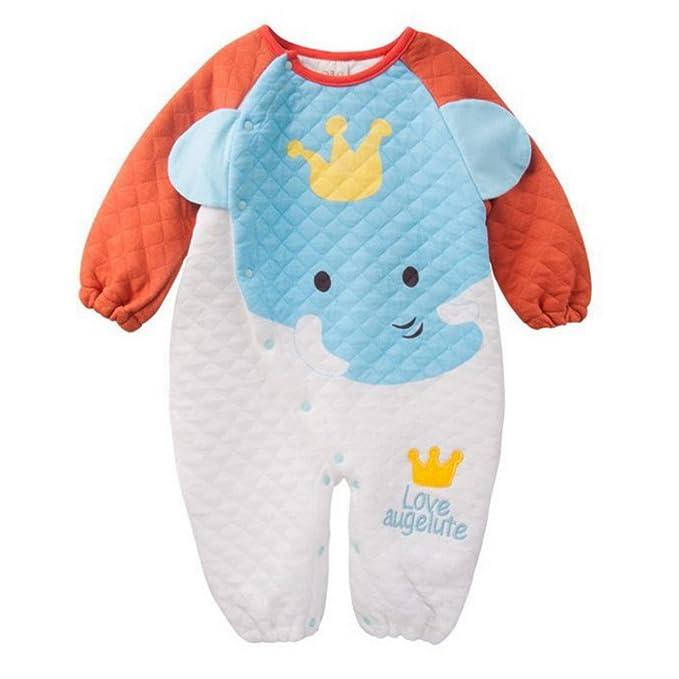 FEOYA - Mono Pelele Pijama Jumpsuit Saco de dormir para Bebés Niños Niñas de algodón con Diseño Animales Elefante para otoño primavera 70cm - Naranja: ...