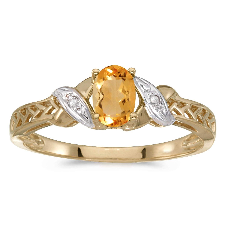 10k Yellow Gold Oval Garnet And Diamond Ring