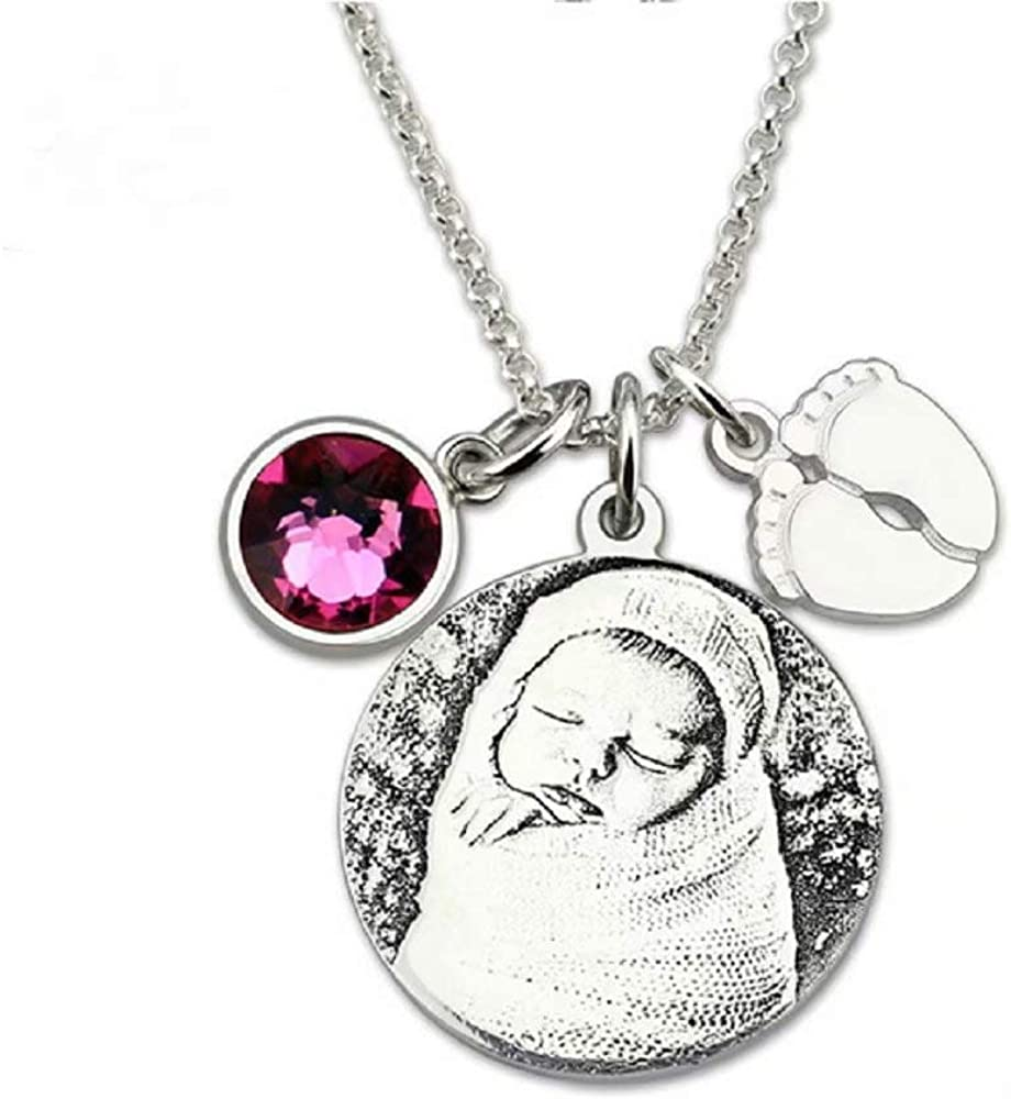 Personalized Photo Round Shadow Sculptures Necklace Customized Photo Text Pendants Necklace Men and Women Clothing Accessories Necklace