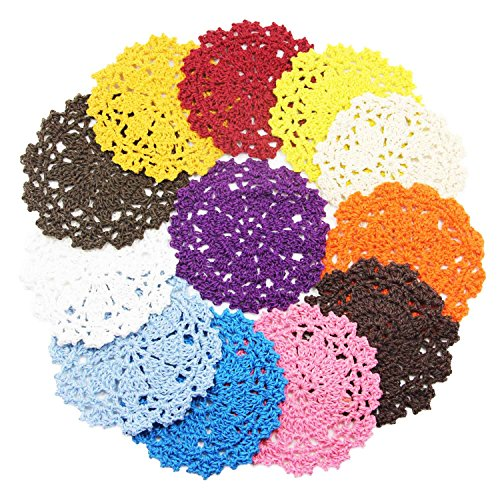 Coasters Set of 12 Colorful Handmade DIY Flower Crochet Lace Round Hollow Weaved Coaster for Drinks - Retro Cotton Tabletop Drink Coasters - 4 Inchs ()