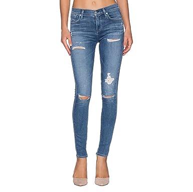 WanYang Femmes Skinny Denim Jeans Déchirés Trous Genoux Pantalon Stretch  Slim Crayon Jeans Jeggings Collants 638fe7a8d5d