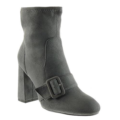 Angkorly - Zapatillas de Moda Botines cavalier flexible mujer tanga Hebilla Talón Tacón ancho alto 9 CM: Amazon.es: Zapatos y complementos