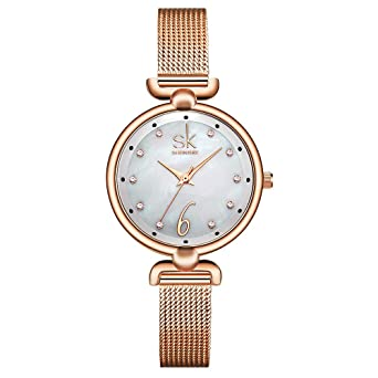 SHENGKE Creative Simplicity Women Watch Mesh Band Elegant Women Watches Ladies Business Wristwatch (K0002-