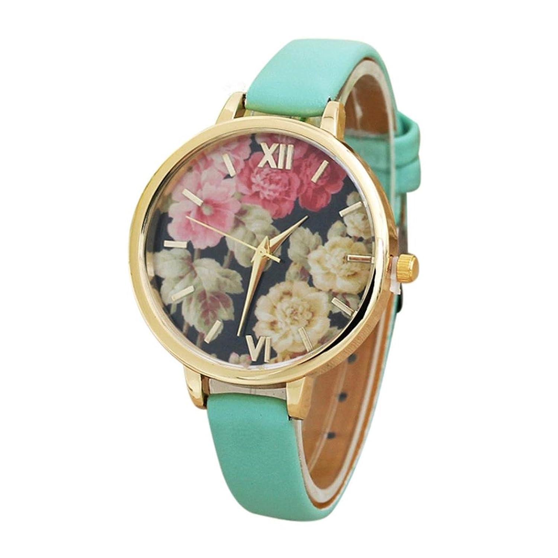 Sinma女性用フラワーパターン腕時計チャームファッション腕時計レザーアナログクオーツ腕時計 B071RMYSN9 ブラック