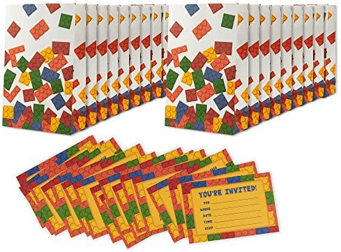 Amazon 16 pack building blocks birthday party invitations 16 pack building blocks birthday party invitations goodie bags boys fill in style invites treat bags includes 16 invitations 16 bags 4 x 6 filmwisefo
