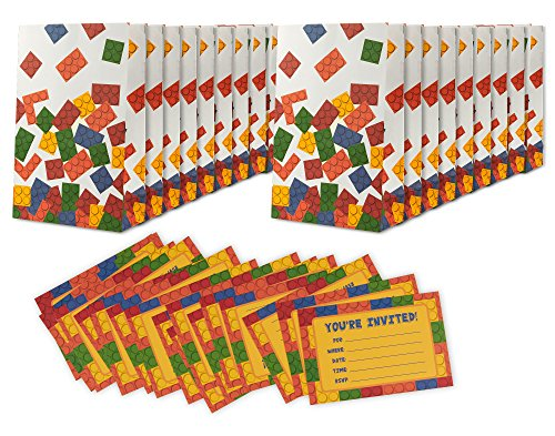 16 Pack Building Blocks Birthday Party Invitations & Goodie Bags - Boys Fill in Style Invites & Treat Bags - Includes 16 Invitations & 16 Bags - 4 x 6 -