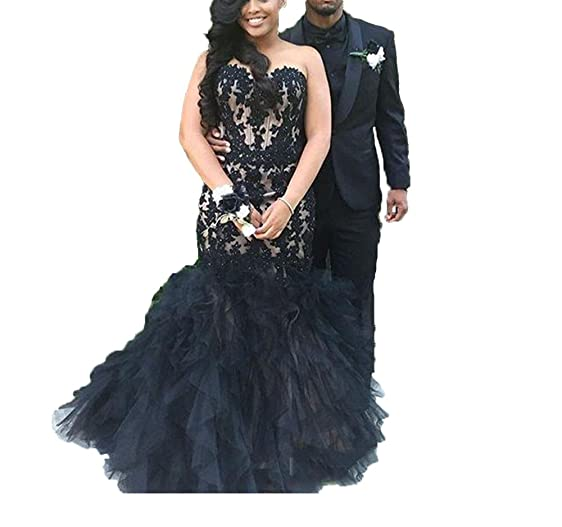 GoDressy Long Prom Dress Mermaid Black Girl Sexy Evening Party Gowns Tiered Plus Size Formal Dress