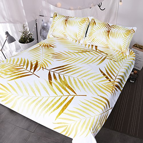 (BlessLiving Modern Palm Leaf Bedding Tropical Floral Botanic Print Duvet Cover Set 3 Piece Gold and White Coastal Life Havana Bed Set (b, Queen))