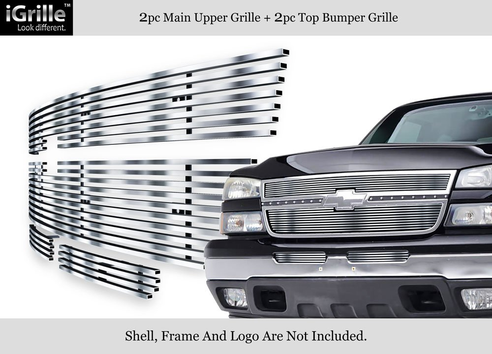 APS 304 Stainless Billet Grille Grill Combo Fits 06 Chevy Silverado 1500/05-06 2500HD #N19-C37676C