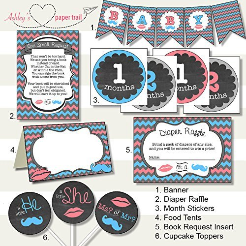 Lips or Mustache Gender Reveal Party Decor Package - Digital Files on CD or Prints