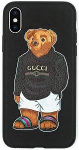 Stylish Bear Custom Fashion Protective Flexible Case/Cover/Skin Leather Finish for iPhone (Black Bear, iPhone 6/6s)