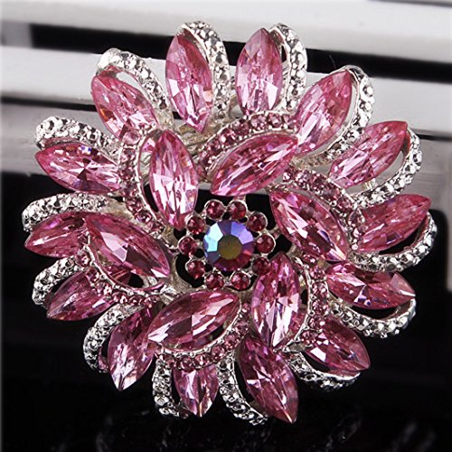 (Urberry Crystal Diamond Flower Brooch Pin for Women Girls Brides (Pink))