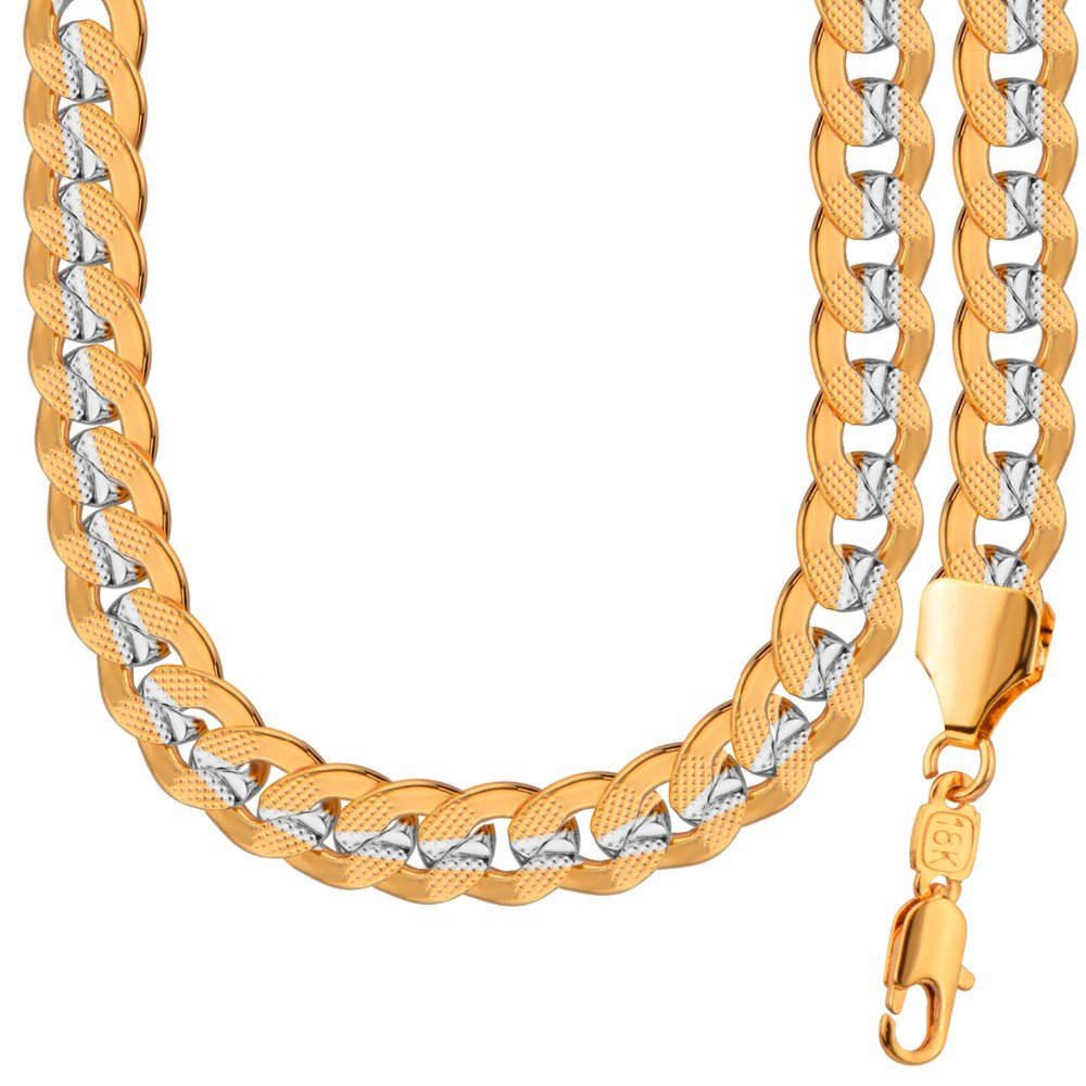 New Necklace&Bracelet Two Tone Gold Chain Set 18K Stamp Gold Plated for Party Gift Men NB60088 DODO JEWELRY