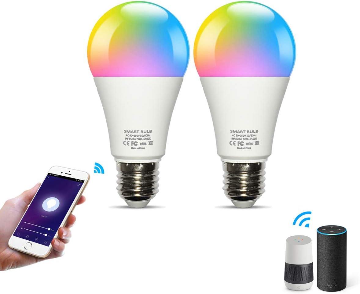 ,E26 Base,CRI80,800LM,A19 FLSNT 4 Pack LED Smart Bulbs,2700-6500K+RGB Color Changing,2.4G WiFi LED Edison Bulb Works with Alexa,Google Assistant,Smart Life APP,9W 60W Equivalent