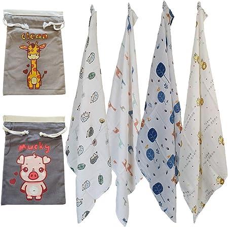 Cuadrados de muselina para bebé de alta calidad, súper suaves, 70% bambú, 30% algodón, 60 cm x 60 cm, diseño de animales, 100% algodón con cordón, diseño de oso de bebé, de Clean & Mucky Designs