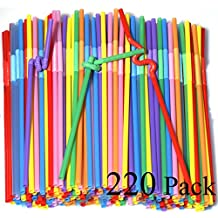 220 Pack 10.23 inch Tall Colorful Extra Long Flexible Drinking Straws Bendy Disposable Plastic Drinking Straws
