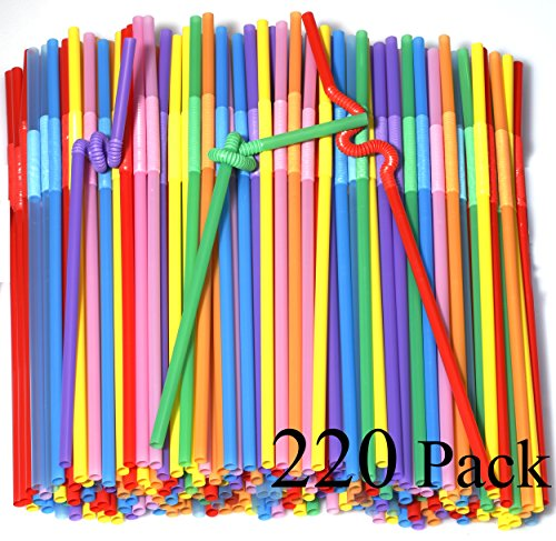 Price comparison product image 220 Pack 10.23 inch Tall Colorful Extra Long Flexible Drinking Straws Bendy Disposable Plastic Drinking Straws