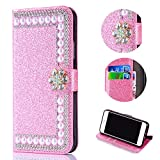 Bling Glitter Case for Samsung Galaxy A6 Plus 2018,Shinyzone Luxury Diamond 3D Flower Magnetic Buckle Stand Feature Leather Wallet Protective Cover for Samsung Galaxy A6 Plus 2018,Pink