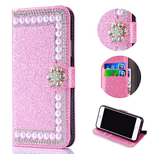 Bling Glitter Case for Samsung Galaxy A6 Plus 2018,Shinyzone Luxury Diamond 3D Flower Magnetic Buckle Stand Feature Leather Wallet Protective Cover for Samsung Galaxy A6 Plus 2018,Pink by Shinyzone