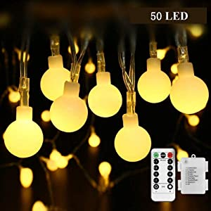 Battery Operated String Lights, B-right Fairy Lights with Remote, 18ft 50 LEDs Waterproof Globe String Lights for Bedroom, Patio, Christmas, Wedding, Party Indoor and outdoor(Warm White, 8 Modes)