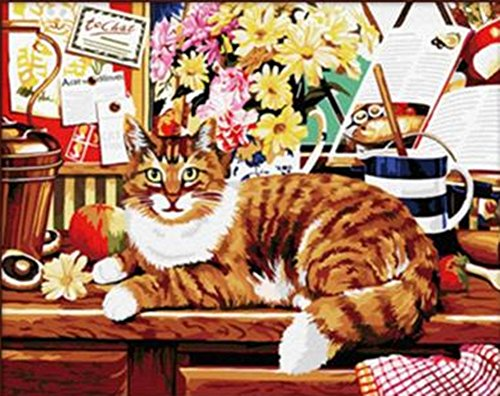 16*20 Inches Paint By Numbers Diy Oil Painting Rich Cat)