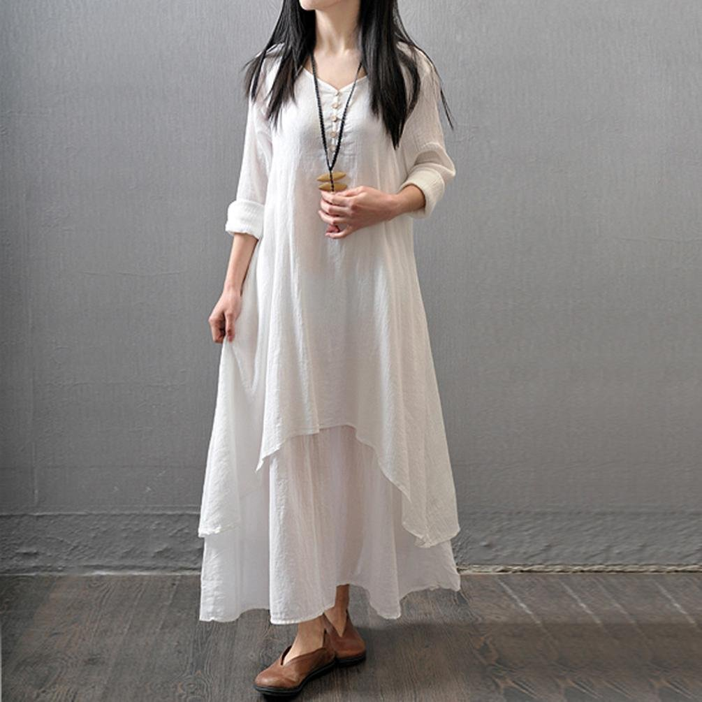 Mujer Casual Suelto Manga larga Lino Vestir, WINWINTOM Boho Largo Fiesta Maxi Vestido: Amazon.es: Ropa y accesorios