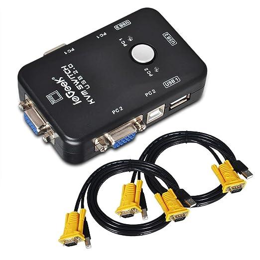 39 opinioni per ieGeek USB KVM Switch Box + Cavo VGA USB Per PC Monitor/Tastiere/Mouse (2 Porte)