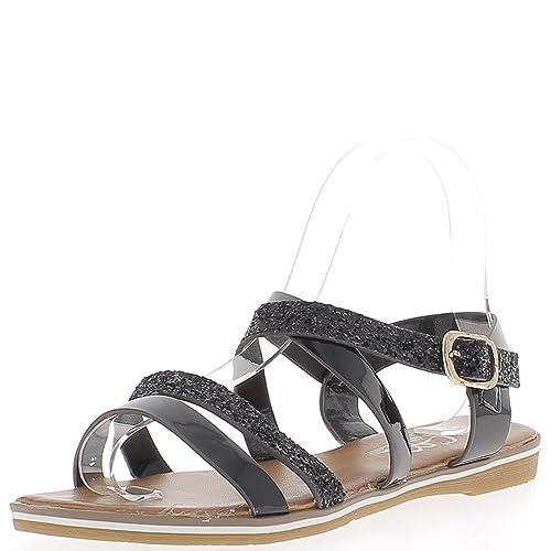 Planas Bridas Sandalias 5 Zapatos Negro Lentejuelas Aspecto Charol Y nwk0OP