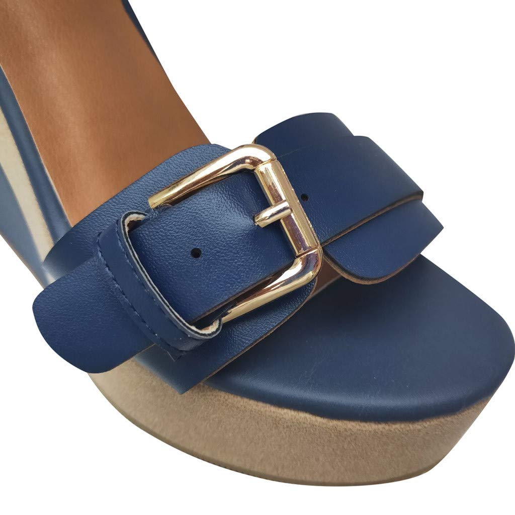 Wedge Platform Sandals for Women,FAPIZI New Comfy Soft Soles Dancing Shoes Casual Breathable Modern Sandals Blue by FAPIZI Women Shoes (Image #3)