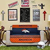 NFL Denver Broncos Love Seat Reversible Furniture Protector with Elastic Straps, 75-inches by 88-inches
