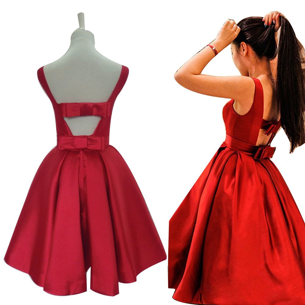 6f2ec3d70b4 MOON Women s Scoop Sleeveless Satin Bowknot Backless Short Homecoming Dress  at Amazon Women s Clothing store
