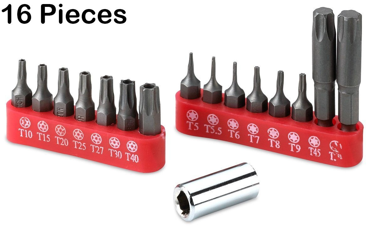 6 Point Torx Star Bit Set – 16 Pieces Assorted Tamper Proof Star Bits For Automotive, Repairs, Trucks, Cars, Engines, Motorcycle, Interiors, Dash, Computers, And Consumer Electronics- -By Katzco by Katzco