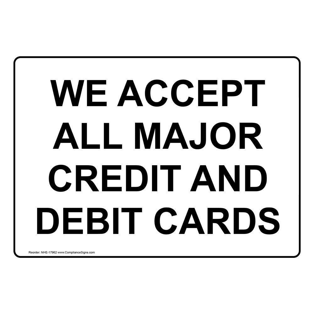 Black on Cashew Plastic by ComplianceSigns 5x3.5 in We Accept Most Major Credit Cards Engraved Sign for Dining//Hospitality//Retail