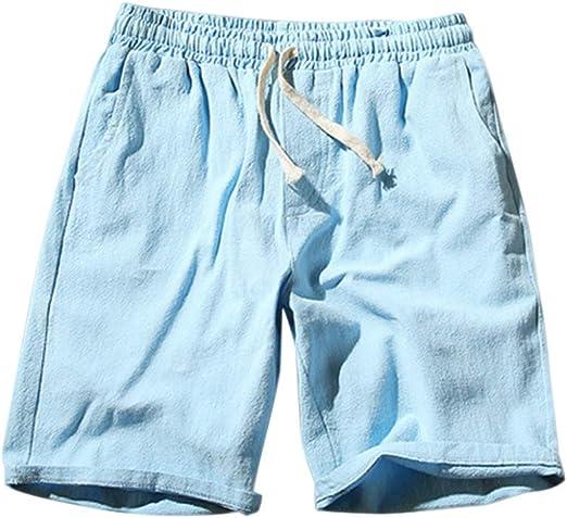Huaheng Hombre Shorts Verano Algodón Lino Sólido Cordones Cintura ...