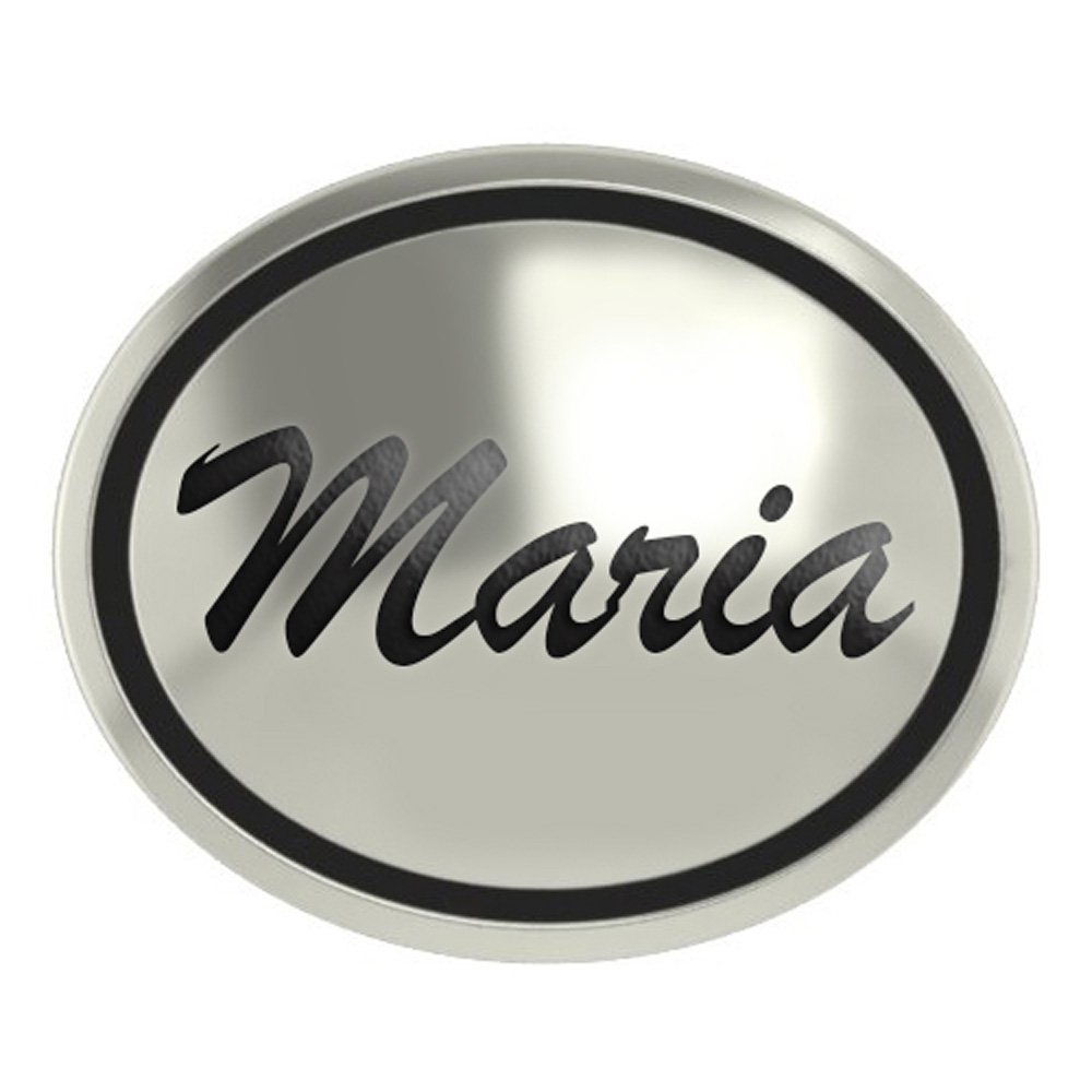 Maria Sterling Silver Antiqued Oval Bead in Script Font
