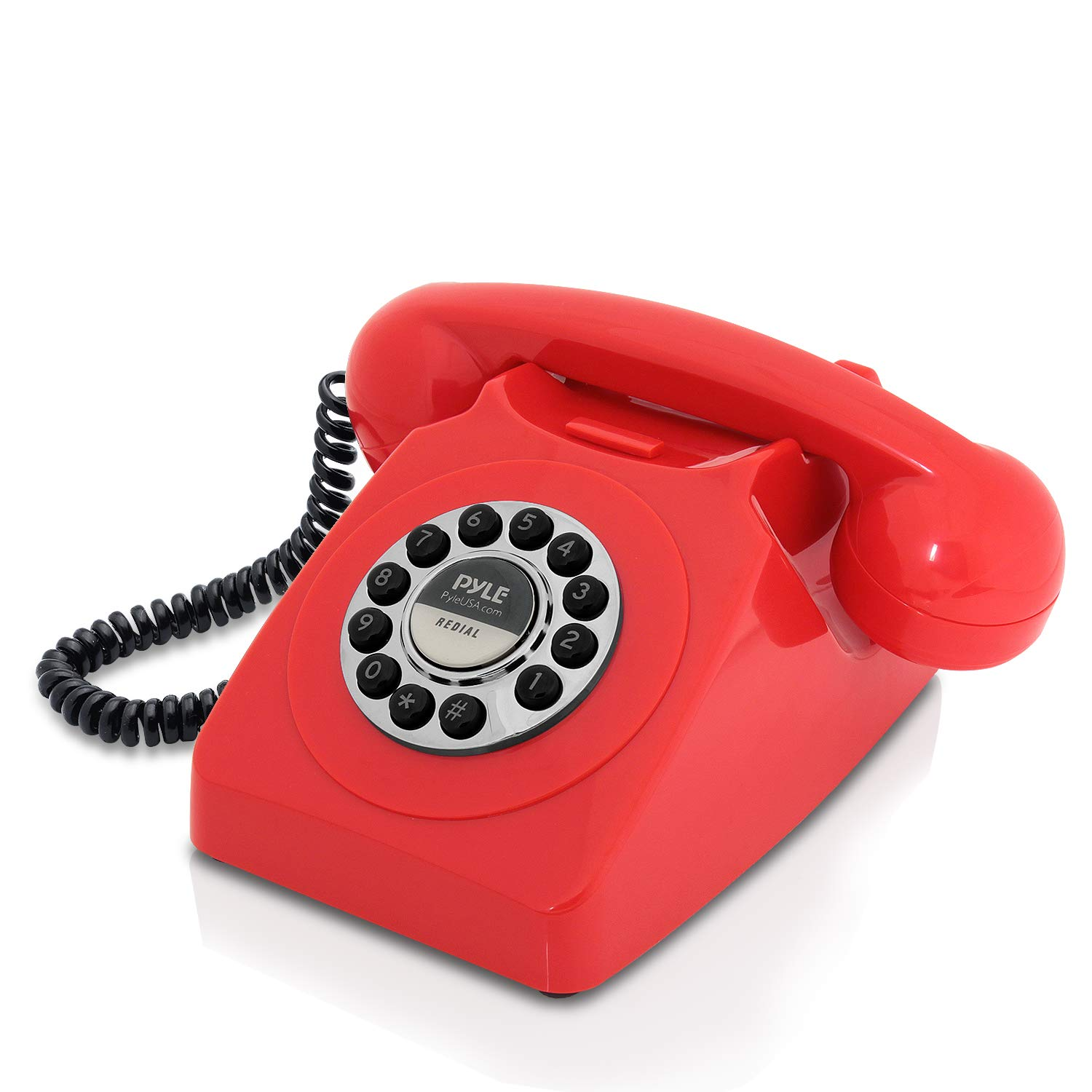 Retro Design Corded Landline Phone - Classic Vintage Old Fashioned Rotary Dial Style Desk Table Home Office Coiled Cord Handset w/ Button Dialing, Standard Telephone Jack - Pyle PPRETRO25RD (Red)
