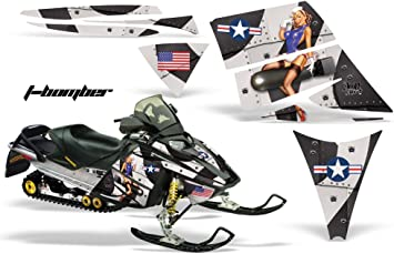 AMR Racing Snowmobile Graphics kit Sticker Decal Compatible with Ski-Doo Rev 2004-2012 Hood T-Bomber Black