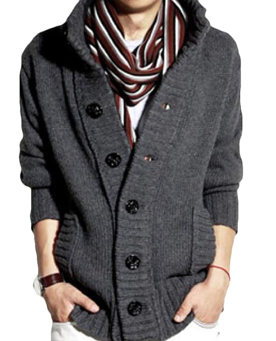 KLJR Men Casual Solid Button Down Stand Collar Thickened Knitted Cardigan