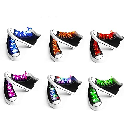 Shoelaces For Christmas.Easydecor Led 6pairs Nylon Shoelaces Lights Up 3 Modes Battery Lights Shoestrings For Christmas Party Dancing Hip Pop Running Decorations