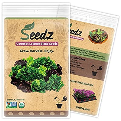 CERTIFIED ORGANIC SEEDS (Appr. 1,100) - Lettuce Seeds, Blend - Heirloom Lettuce Seeds - Non GMO, Non Hybrid - USA