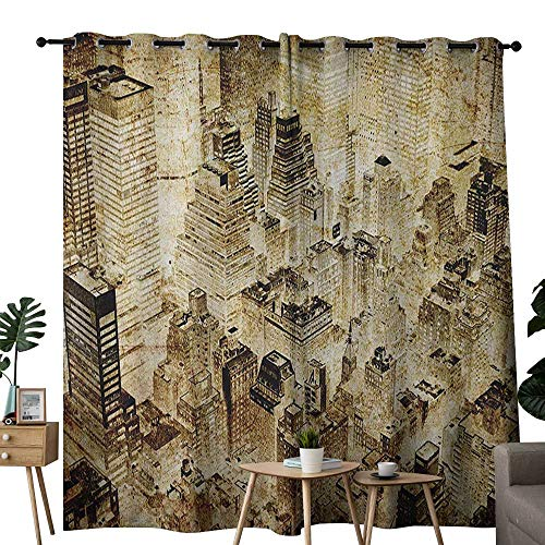 NUOMANAN Kitchen Curtains Vintage,High Buildings Night Luminous United States of America City Vibrant Alive Town Photo, Yellow,Rod Pocket Drapes Thermal Insulated Panels Home décor 100