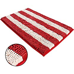 Ihoming Pet Mud Rugs Bowl Bed Mat Absorbent Microfiber Chenille Stripe Dog Cat Door Mat Paw Step Clean Rugs, Red/Beige, 19 by 31 inches
