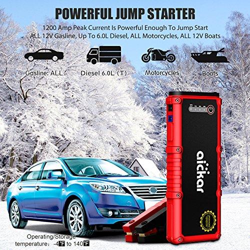 Amazon Com Aickar 1200a Peak 20100mah Car Jump Starter All Gas