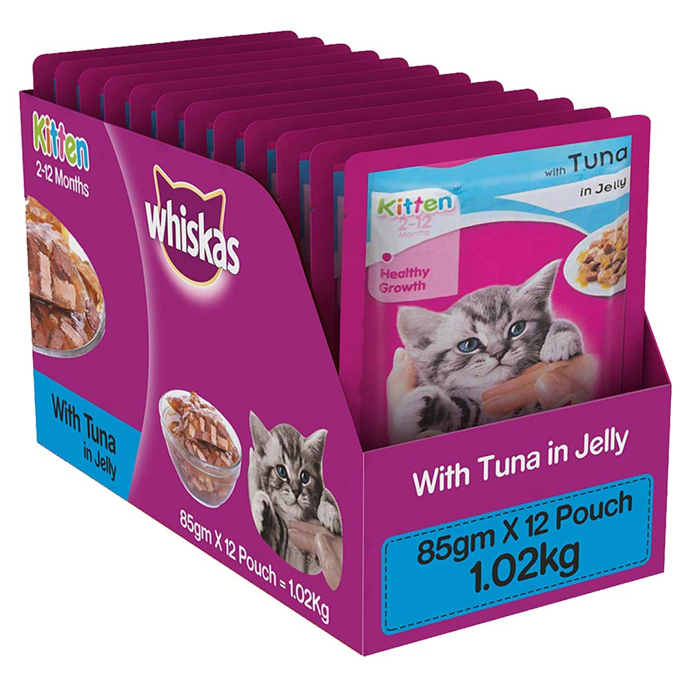Whiskas Kitten (2-12 months) Wet Diwali Cat Food Gift, Tuna in Jelly, 12 Pouches (12×85g) product image
